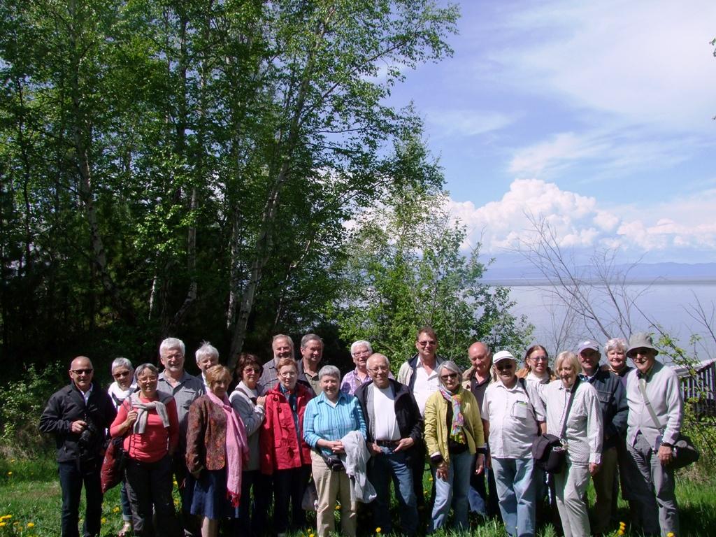 Photo du groupe au fond du lac.