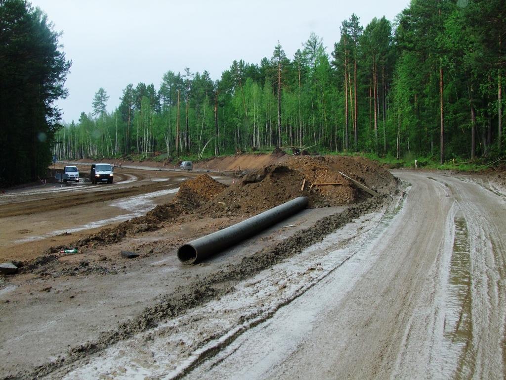 Quelques parties de la route d'oblast Irkoutsk sont en travaux.
